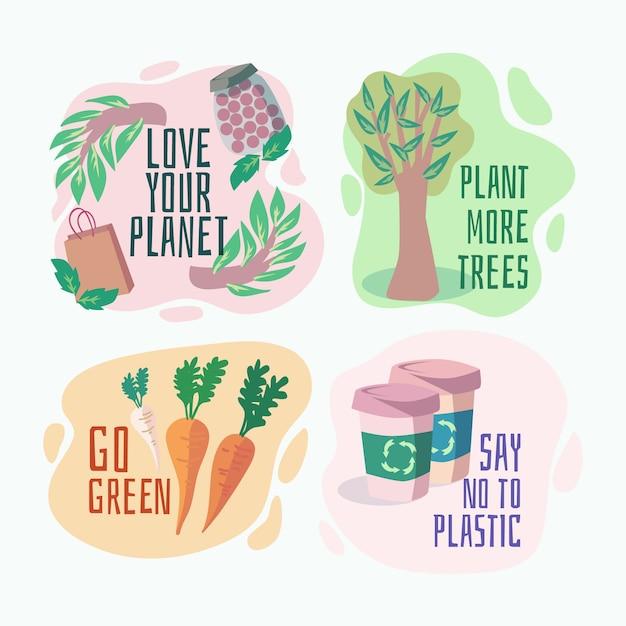 Distintivi di ecologia disegnati a mano con piante Vettore gratuito
