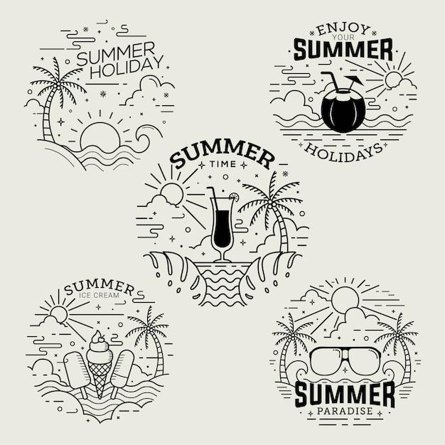 Distintivi di estate stile piatto con disegni al tratto Vettore Premium