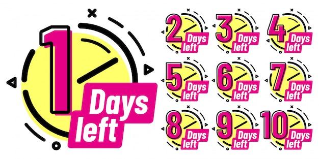 Distintivi di giorni rimanenti, segno di conto alla rovescia in corso, badge di un giorno a sinistra e set di etichette conteggio delle date di lavoro Vettore Premium