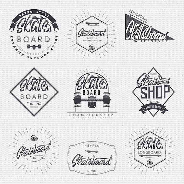 Distintivi di insegne di skateboard Vettore Premium