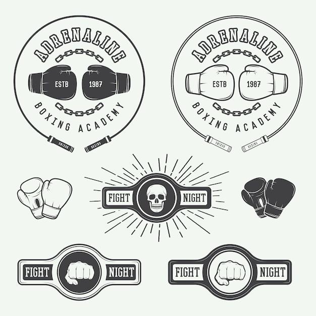 Distintivi di logo di boxe Vettore Premium
