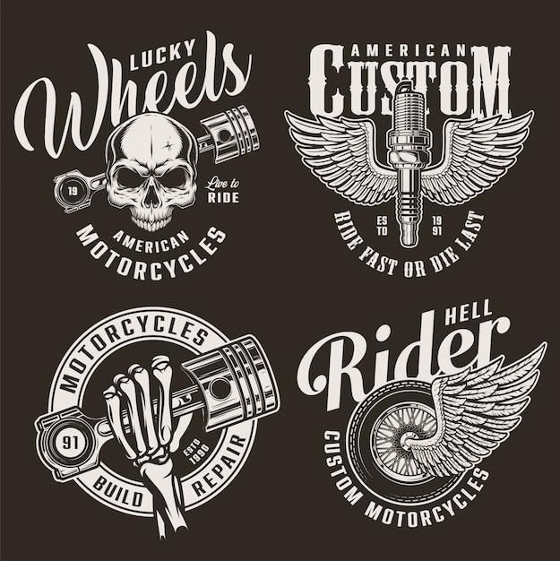 Distintivi di motocicletta personalizzati monocromatici Vettore gratuito