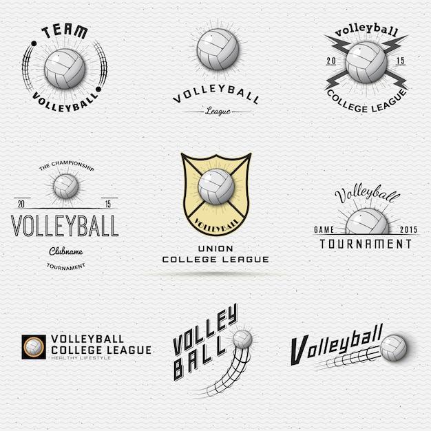 Distintivi di pallavolo loghi ed etichette possono essere utilizzati per la progettazione Vettore Premium