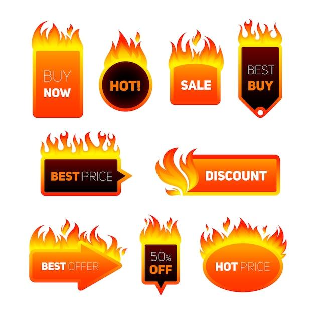 Distintivi di prezzo caldi Vettore gratuito