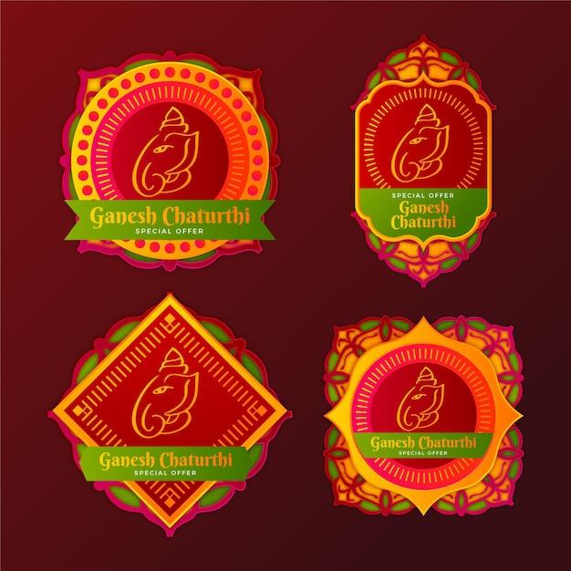 Distintivi di vendita di ganesh chaturthi Vettore gratuito