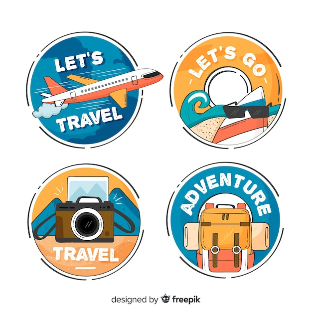 Distintivi di viaggio cerchiati disegnati a mano Vettore gratuito