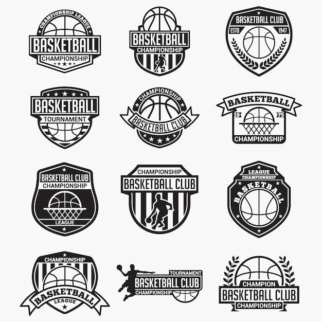 Distintivi e loghi del club di pallacanestro Vettore Premium
