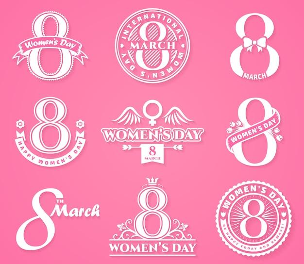 Distintivi ed emblemi per la festa della donna. Vettore Premium