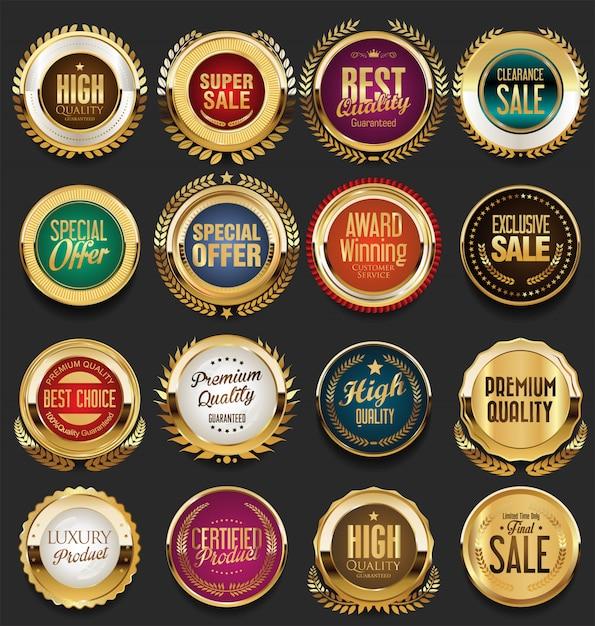 Distintivi ed etichette d'epoca retrò d'oro Vettore Premium