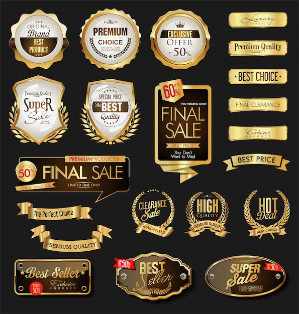 Distintivi ed etichette d'oro di lusso premium Vettore Premium