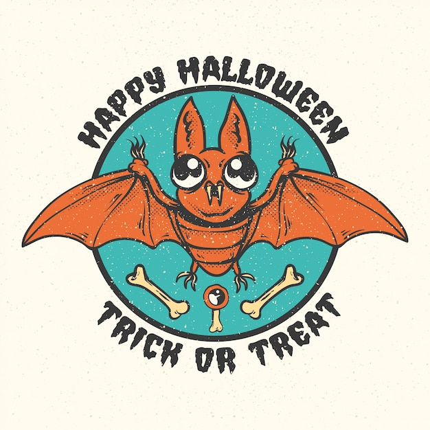 Distintivi, emblemi ed etichette dell'annata di halloween. Vettore Premium