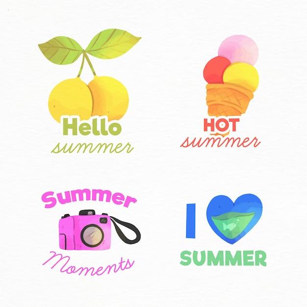 Distintivi estivi dell'acquerello Vettore gratuito