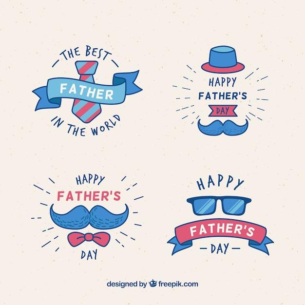 Distintivi festa del papà con elementi di vestiti Vettore gratuito