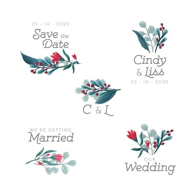 Distintivi floreali di nozze Vettore gratuito