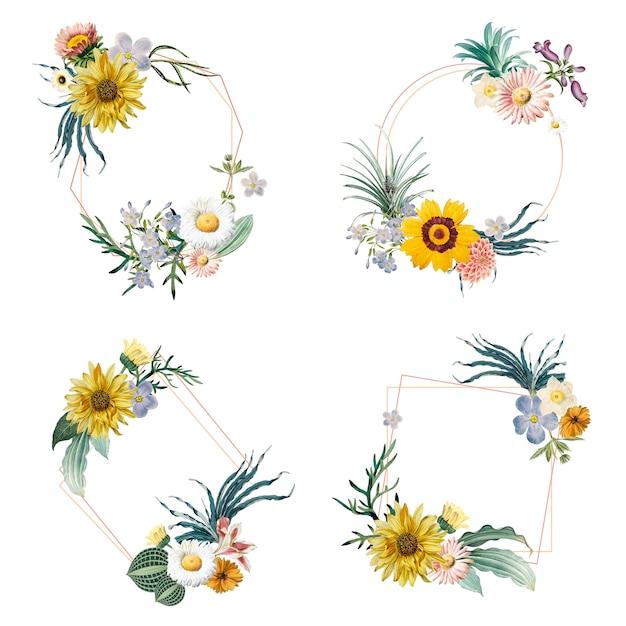 Distintivi incorniciati a fiori Vettore gratuito