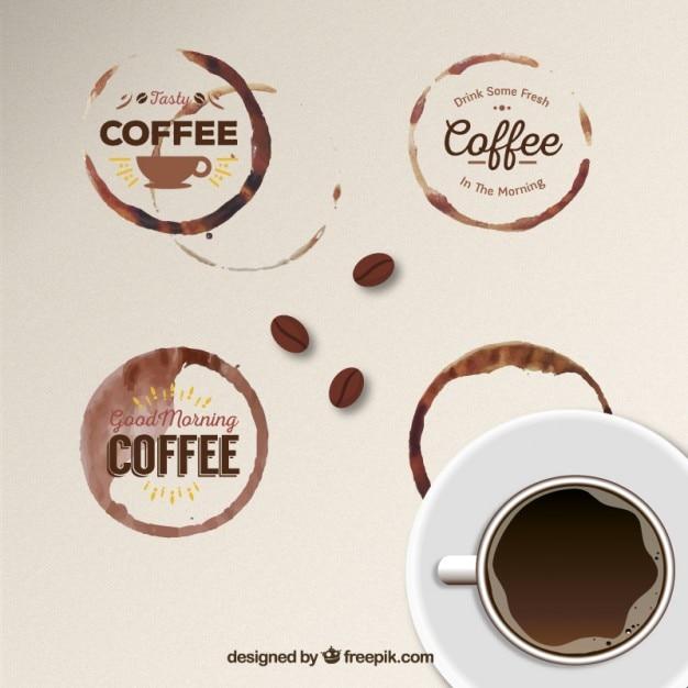 Distintivi macchia di caffè Vettore gratuito