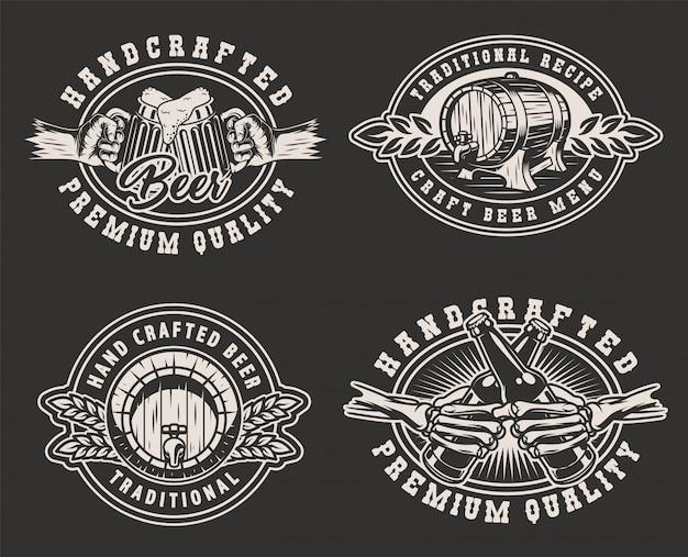 Distintivi monocromatici del birrificio vintage Vettore gratuito