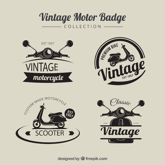 Distintivi motobike d'epoca Vettore gratuito