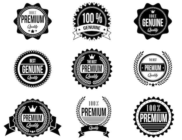 Distintivi puliti e moderni con uno stile diverso Vettore Premium