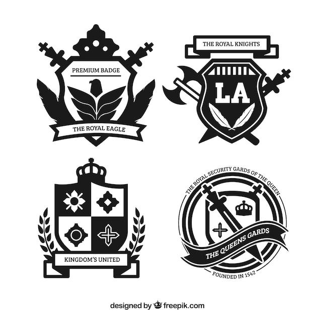 Distintivi reali in stile ornamentale Vettore gratuito