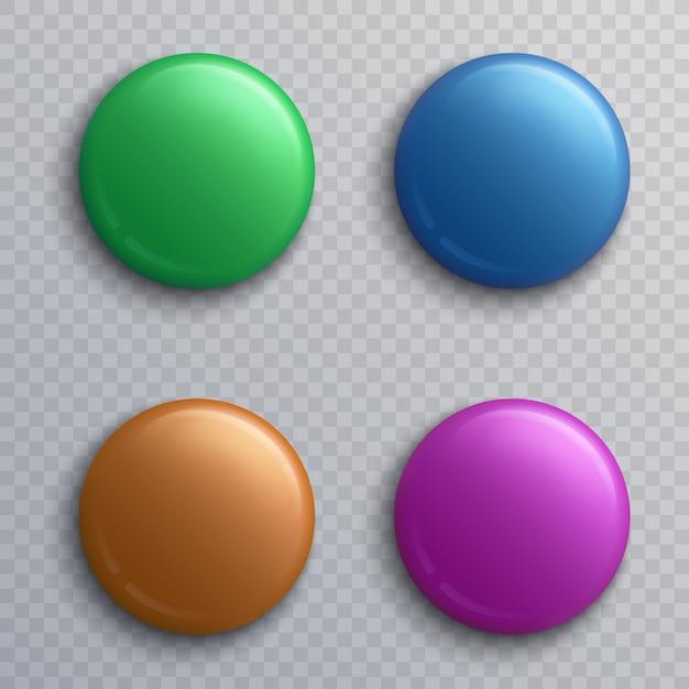 Distintivi variopinti in bianco del bottone, insieme isolato di vettore dei magneti del perno rotondo. bottone e perno rotondo, illustrazione di colore distintivo del magnete Vettore Premium