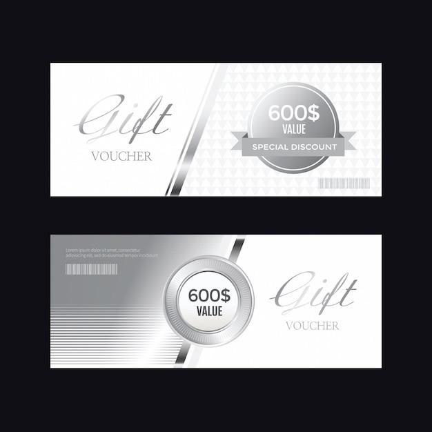 Distintivo d'argento di lusso ed etichette, carta voucher Vettore Premium