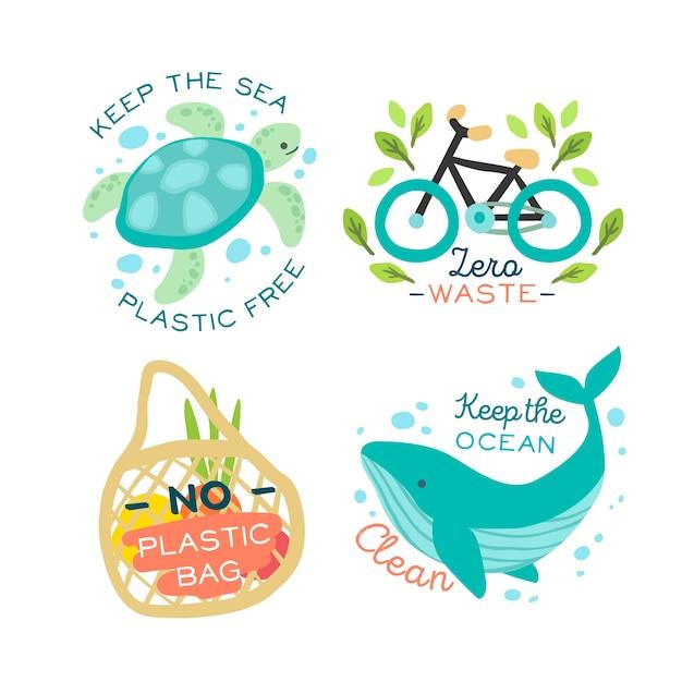 Distintivo di animali e oggetti ecologici Vettore gratuito