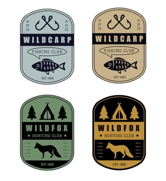Distintivo di caccia e pesca Vettore Premium