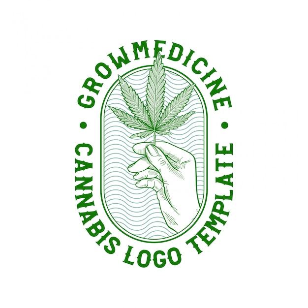 Distintivo di cannabis disegnato a mano Vettore Premium