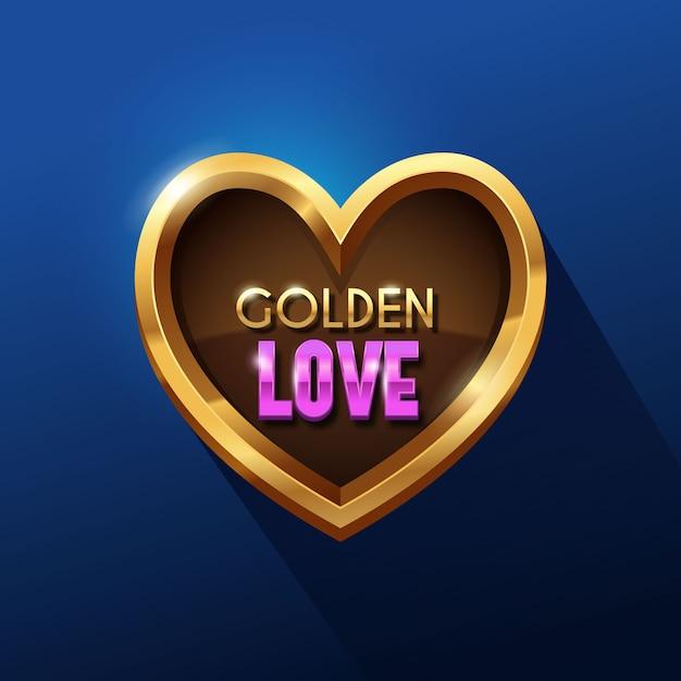 Distintivo di cuore metallico dorato Vettore Premium