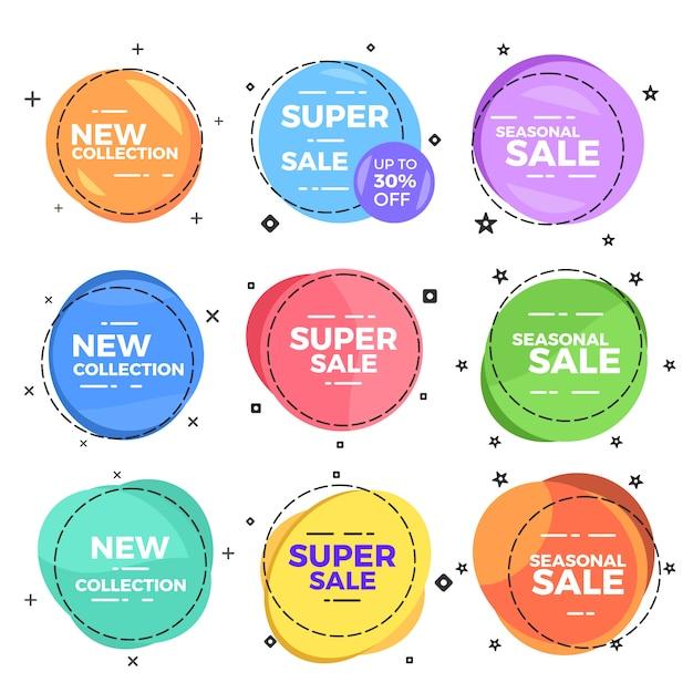Distintivo di elemento web testo vendita cerchio Vettore Premium