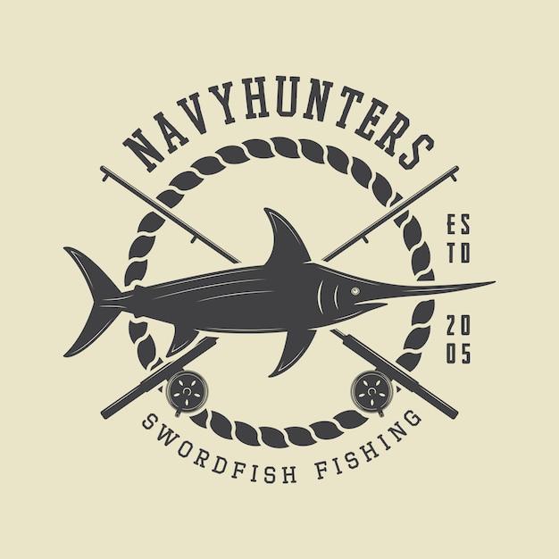 Distintivo di etichetta di pesca Vettore Premium