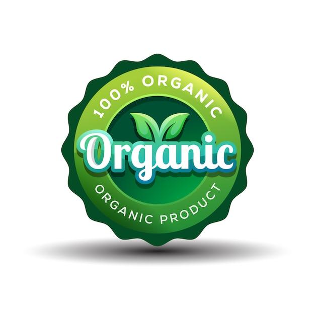 Distintivo di gradiente design del logo organico o vegano Vettore Premium