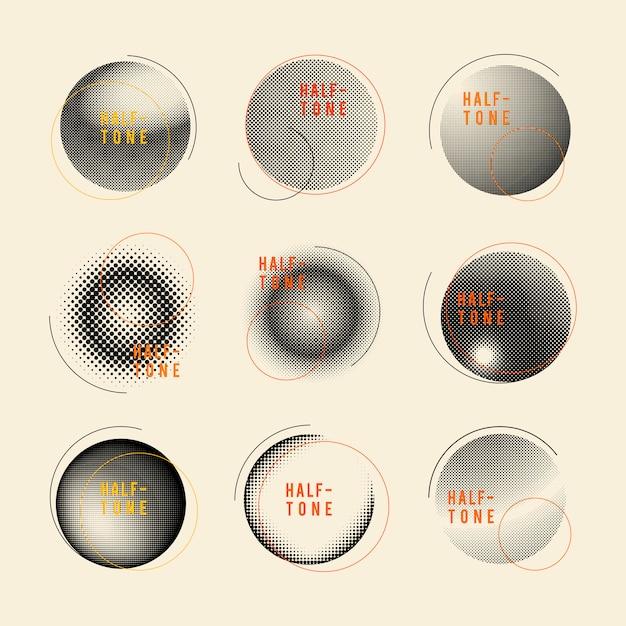Distintivo di mezzitoni vintage nero sul set di sfondo beige Vettore gratuito