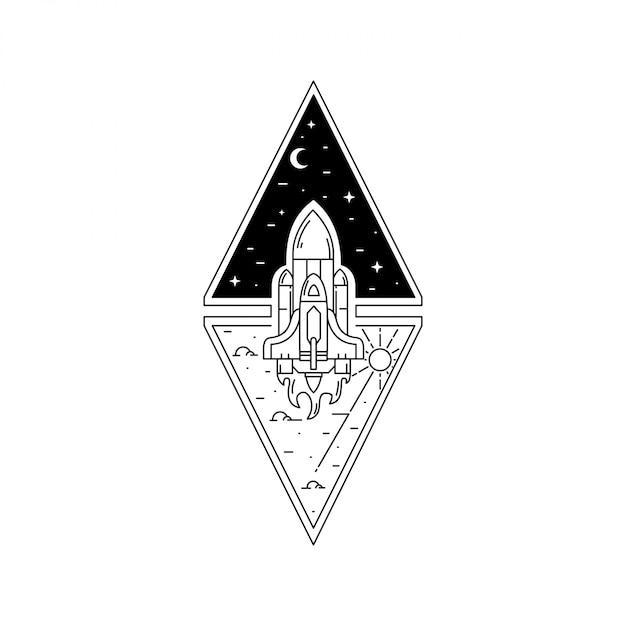 Distintivo di monoline all'aperto dell'annata Vettore Premium