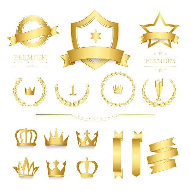 Distintivo di qualità premium e raccolta di banner Vettore gratuito