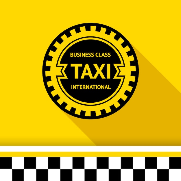 Distintivo di taxi isolato su giallo Vettore Premium