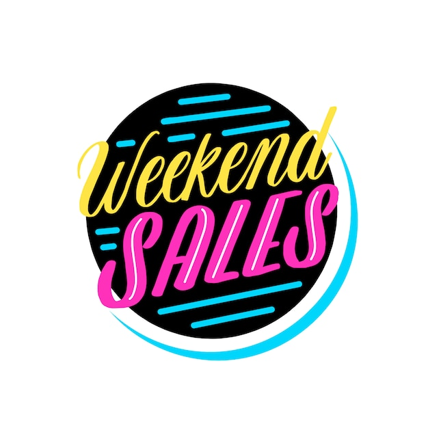 Distintivo di vendita del fine settimana Vettore gratuito