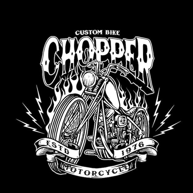 Distintivo di vettore bici moto chopper personalizzato Vettore Premium