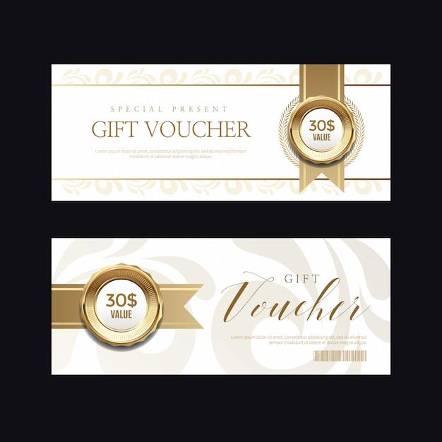 Distintivo dorato di lusso ed etichette, carta voucher Vettore Premium