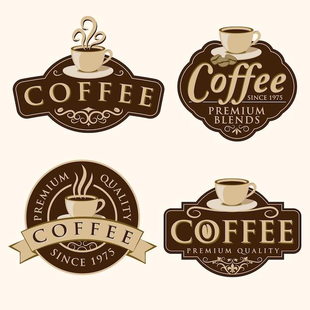 Distintivo e etichette per caffè Vettore Premium
