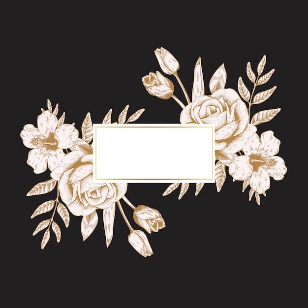 Distintivo floreale romantico Vettore gratuito