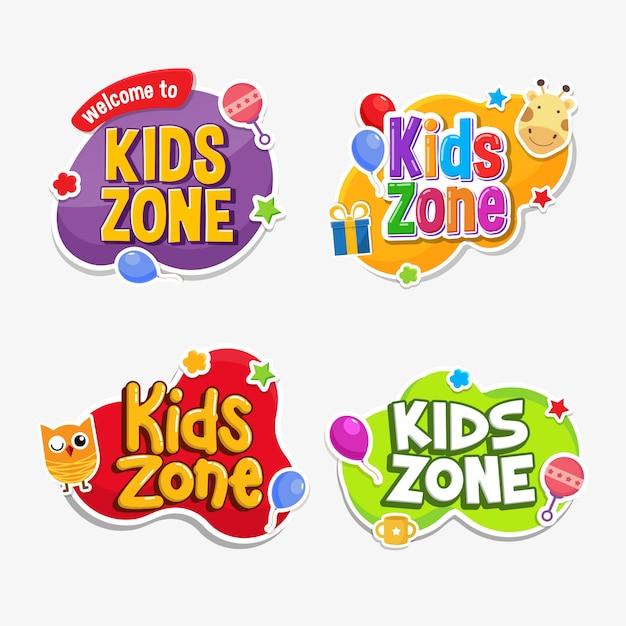 Distintivo infantile di adesivo di testo etichetta zona bambini Vettore Premium