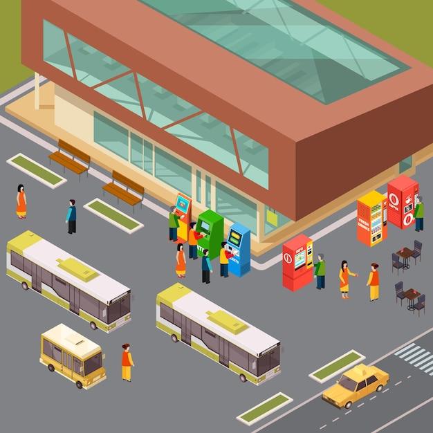 Distributori automatici di biglietti e distributori automatici di biglietti alla stazione degli autobus e caffè all'aperto 3d isometrico Vettore gratuito