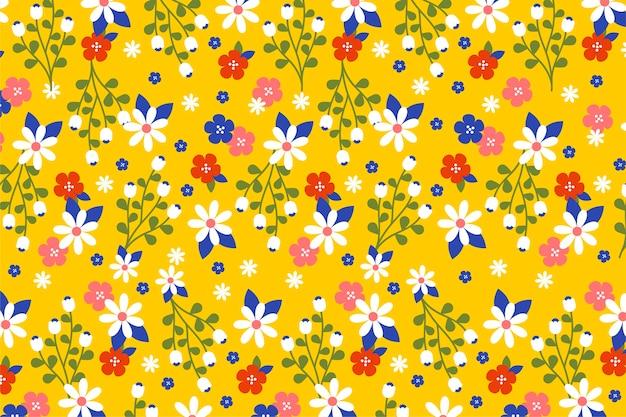 Ditsy carta da parati floreale colorata Vettore gratuito