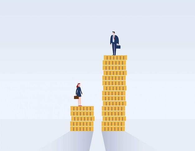 Divario di genere e disuguaglianza nel salario. Vettore Premium