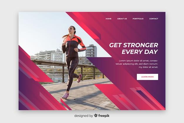 Diventa più forte ogni giorno landing page sportiva Vettore gratuito
