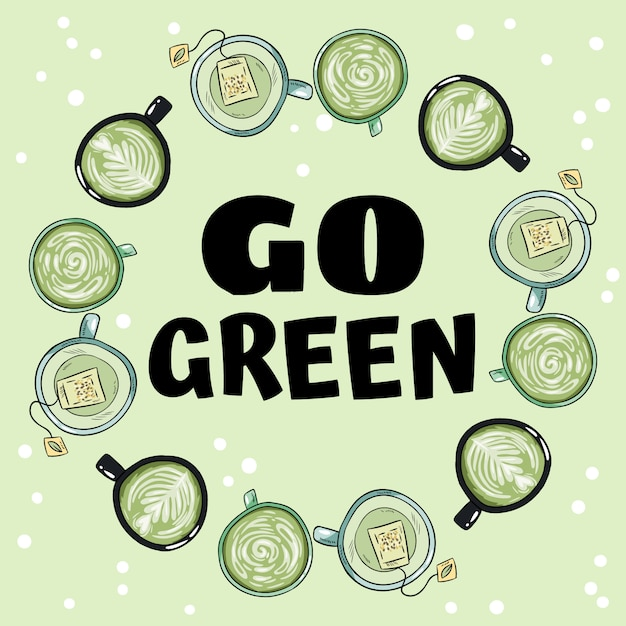 Diventa verde. ghirlanda decorativa di tazze di tè verde e alle erbe Vettore Premium