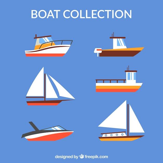Diverse barche in design piatto Vettore gratuito