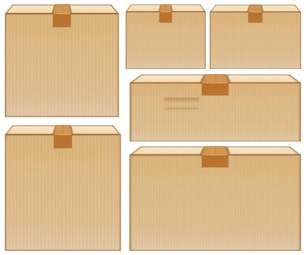 Diverse dimensioni di scatole di cartone su bianco Vettore gratuito